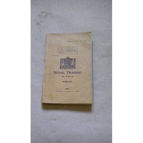 SIGNALS TRAINING VOL 2 PART 2  WIRELESS 1936